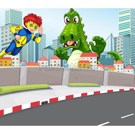a superhero and a crocodile in