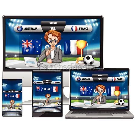 set of football match score news