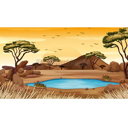 background scene with pond in the