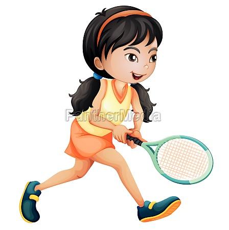 girl playing tennis white background