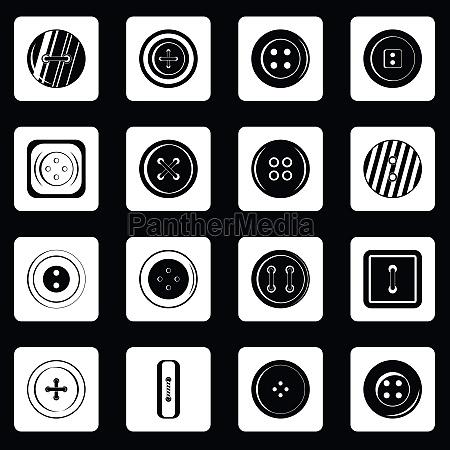 clothes button icons set squares vector