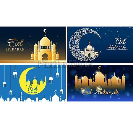 four background designs for muslim festival