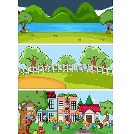 set of different horizontal scenes background