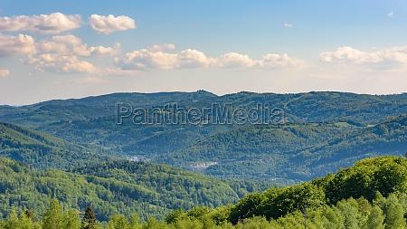 landscape of beskid mountains in poland