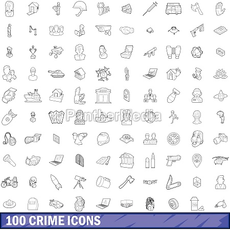 100 crime icons set outline style