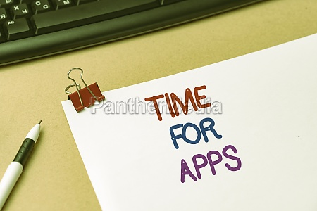 hand writing sign time for apps