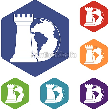 world planet and chess rook icons