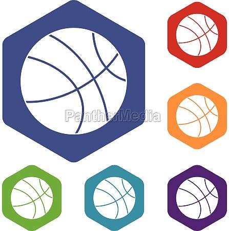 basketball ball icons set hexagon