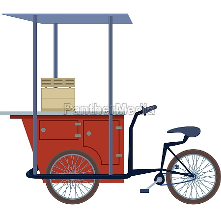 tricycle trade cart icon cartoon style