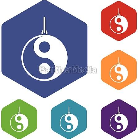 yin yang symbol icons set hexagon