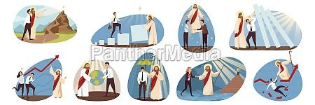 religion business support set concept