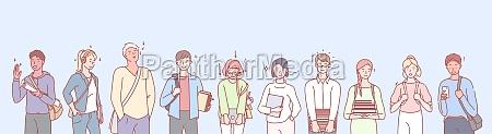 college or university leisure set concept