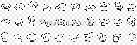 cooks cap headdress doodle set