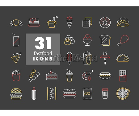 fastfood food court vector icon on