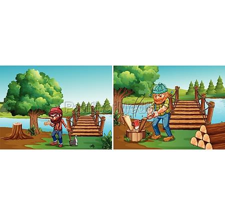 two scenes with lumberjacks chopping woods