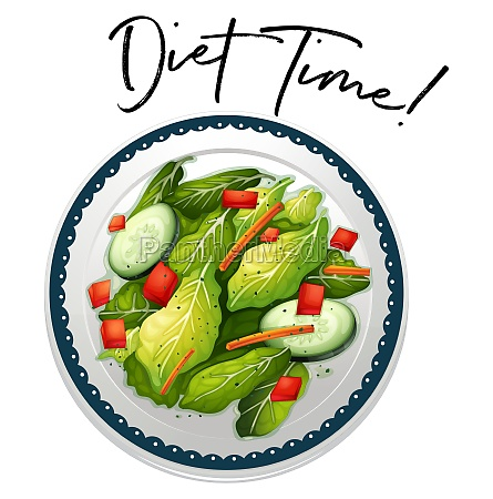 plate of salad with phrase diet