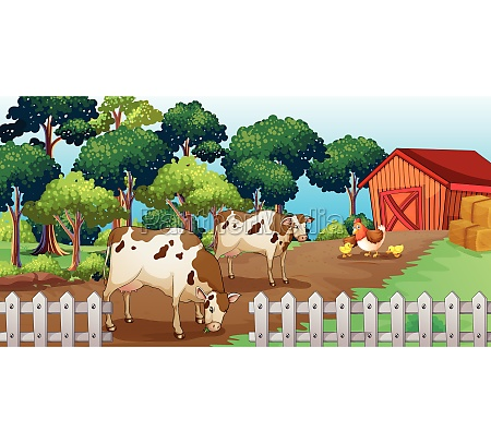 a farm with animals inside the