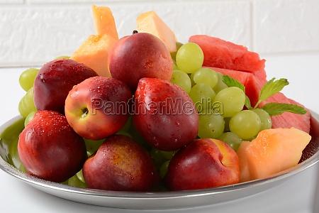 fruit mix nectarine grapes watermelon