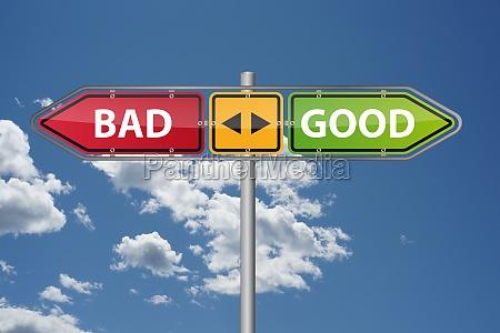 good bad direction arrow sign post