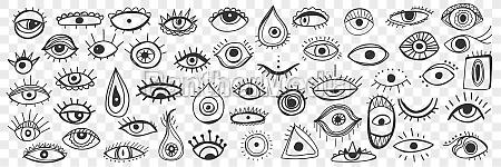 spiritual occult eye doodle set