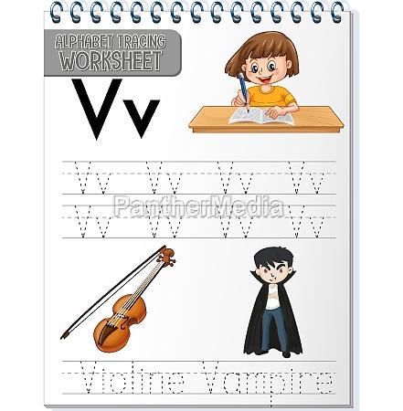 alphabet tracing worksheet with letter v