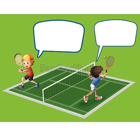 two boys playing tennis
