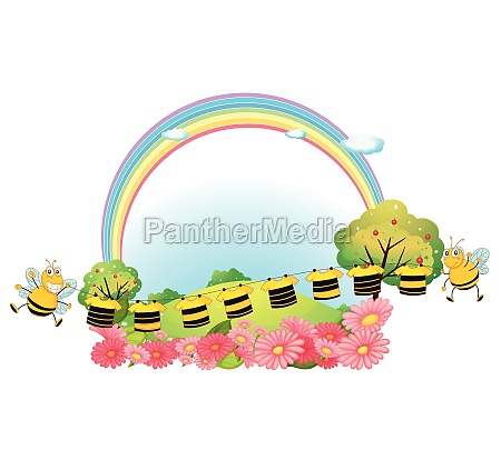 hanging clothes with bees