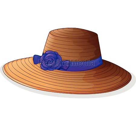 a brown hat with a violet
