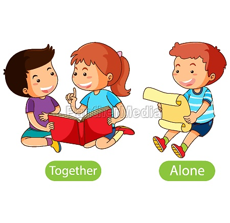 opposite words with together and alone