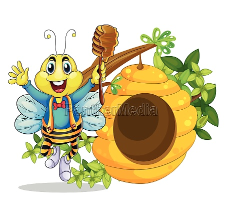 a happy bee holding a stick