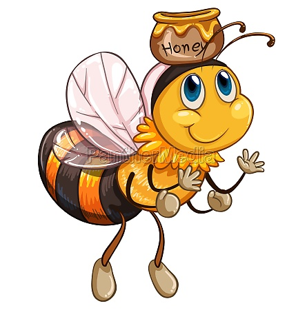 a bee flying with a pot