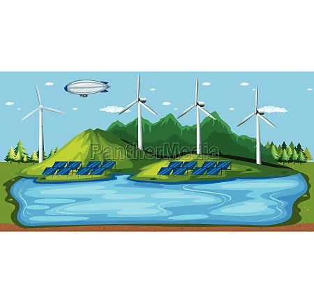 wind power plant in nature