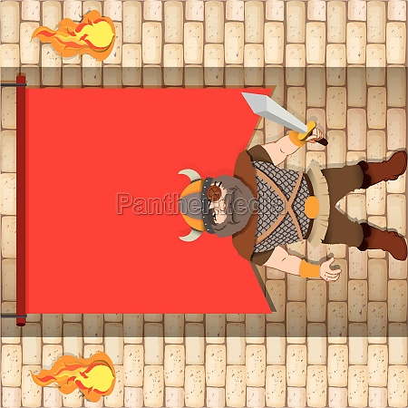 male viking with red banner