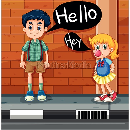 boy and girl greeting on the