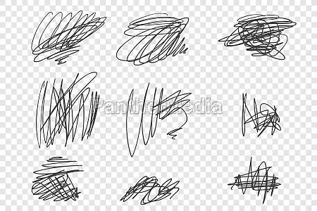 random undigested scribbles vector illustrations set
