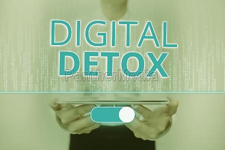 text caption presenting digital detox word