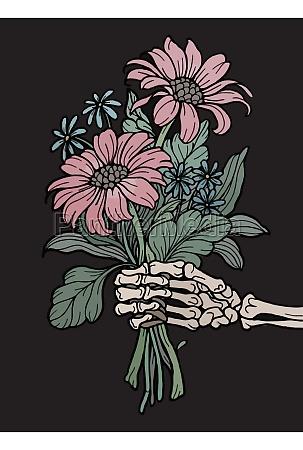 romantic skeleton hand holding a bouquet