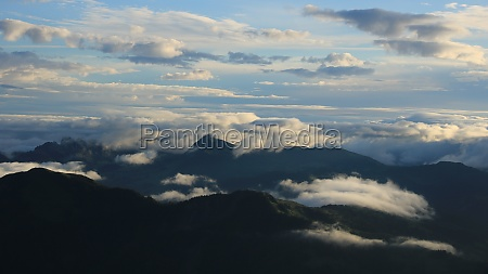 bright sun lit clouds over the