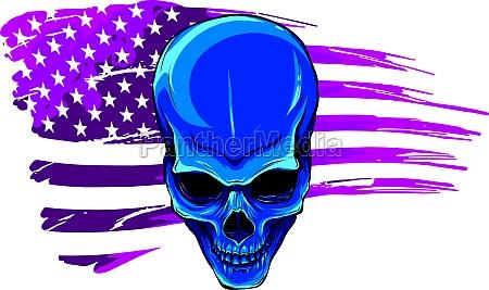 vector illustartion of skull with american