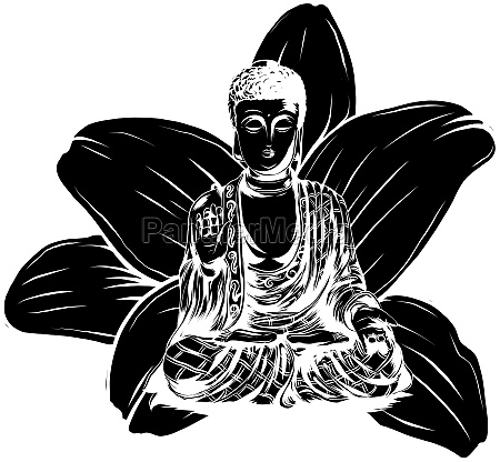 buddha sitting on a lotus background