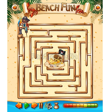beach fun maze game template
