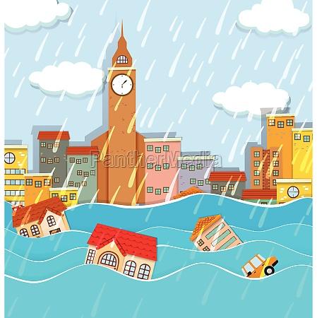 a flood in big city