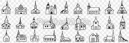church facades with towers doodle set