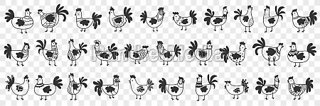 hens and roosters doodle set