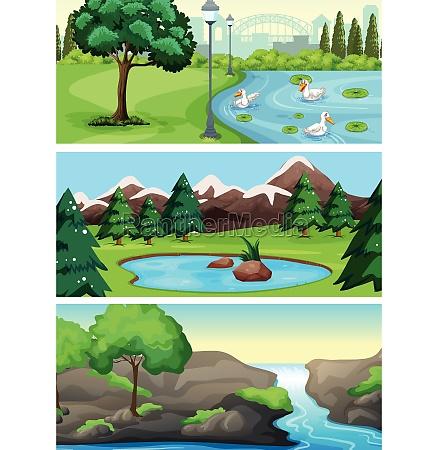 set of rural nature park