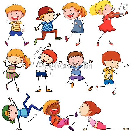 doodle children with different activity