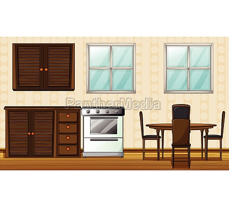 wooden furniture and windows