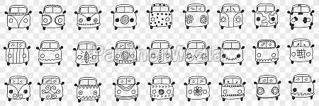 cars hood and windshield doodle set