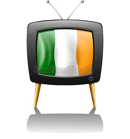 a television showing the flag of