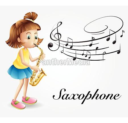 girl playing saxophone alone